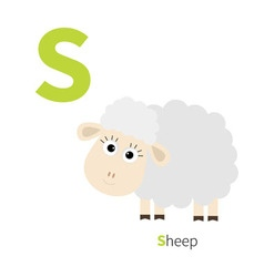 Letter S Ship Zoo alphabet English abc with vector image