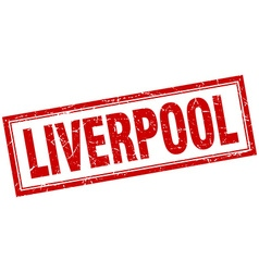 Liverpool red square grunge stamp on white vector
