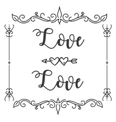 love love abstract design square frame white backg vector image