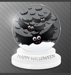 magic globe with flying bats halloween design vector image