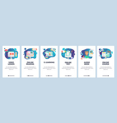 mobile app onboarding screens online education vector image