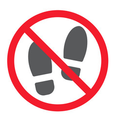 No shoes glyph icon prohibition and forbidden vector