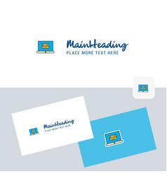 online banking logotype with business card vector image