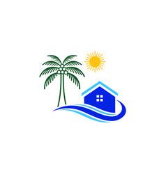 Palm house home sun sunny sunset wave logo d vector
