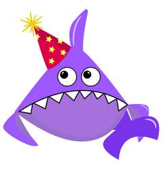 party shark cartoon sea animal purple shark on a vector image
