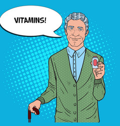pop art senior man with medications health care vector image