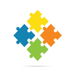 Puzzle color on white background vector