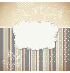 retro greeting card with floral elements vector image