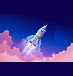 rocket launch and fire flame spaceship in sky vector image
