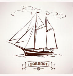 sailboat vintage wooden ship sketch vector image