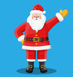 santa waving hands isolated blue background vector image