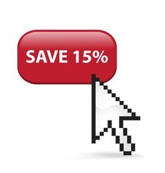 Save 15 Button Click vector