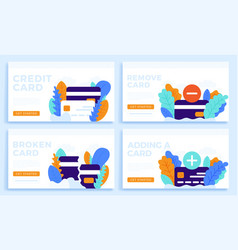 set credit card stock for landing page or vector image