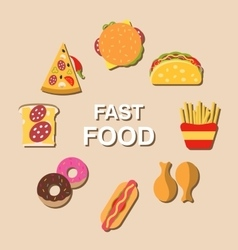 Set fast food flat icons vector image