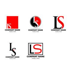 set initial letter ls logo template design vector image
