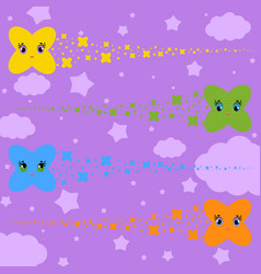 set of flat colored isolated stars of cartoons vector image