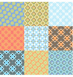 set of geometric ornaments based on embroidery vector image