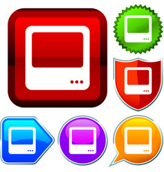 Set shiny icon series on buttons tv vector