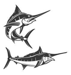 Set swordfish isolated on white background vector