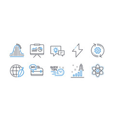 Set technology icons such as 24h service vector