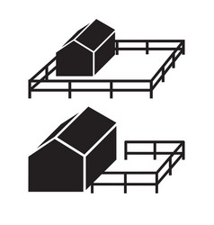 simple icon of house silhouette with fence vector image