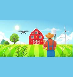 Smart farming - a farmer using a tablet computer vector