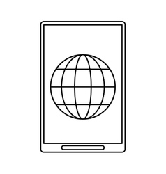 Smartphone global connection technology design vector