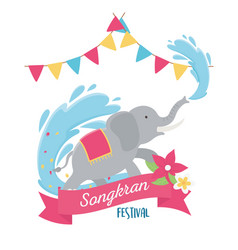 Songkran festival elephant water flowers and flags vector