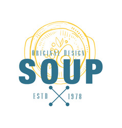 soup logo original design estd 1978 retro emblem vector image