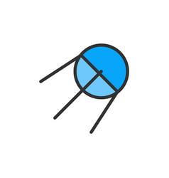 sputnik rocket flat color line icon vector image