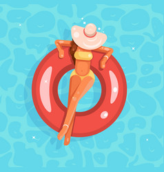 Swimming pool female girl broad-brim hat swim ring vector