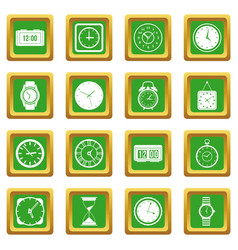 time and clock icons set green vector image