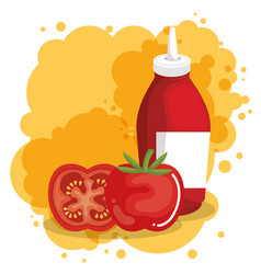 Tomatoes and ketchup bottles vector