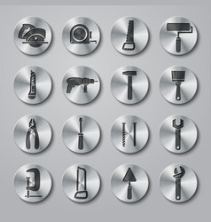 Toolbox Icons Set on Metal Buttons vector