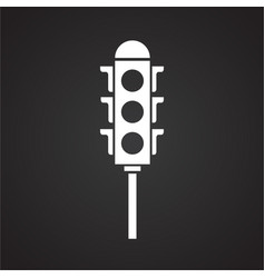 Traffic lights on black background vector