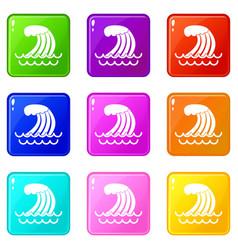 Tsunami wave icons 9 set vector