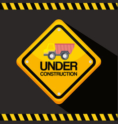 Under construction road sign with truck vehicle vector