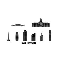United states baltimore flat travel skyline set vector