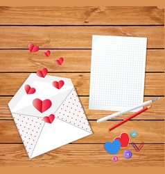 valentines card with opened envelope and empty vector image