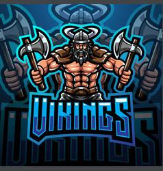 Viking mascot gaming logo design holding axe vector