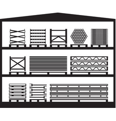 Warehouse with construction scaffolding vector