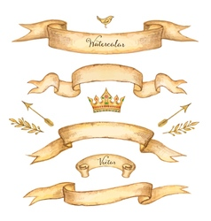 Watercolor set of ribbons vector image