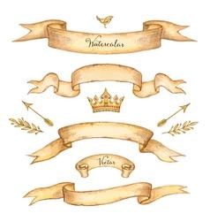 watercolor set ribbons vector image