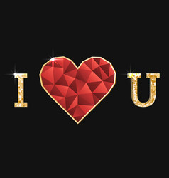 with polygonal red heart and golden vector image