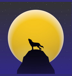 Wolf howling in front of super moon vector