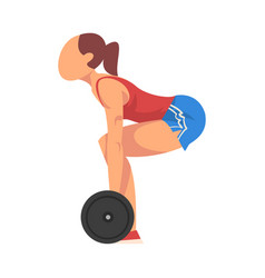 Woman squatting with barbell girl doing sports vector