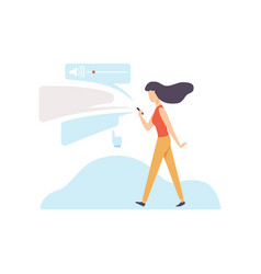 woman using smartphone or mobile phone with chat vector image