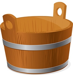 Wooden bucket isolated on white background vector