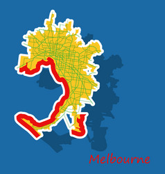 melbourne australia map in retro style sticker vector image vector image