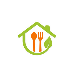 Organic food house logo vector